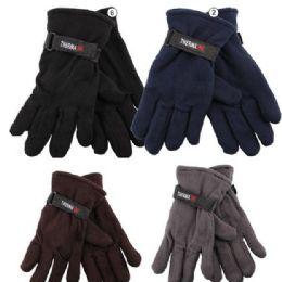 72 Bulk Men's Fleece Glove's - Assorted Colors