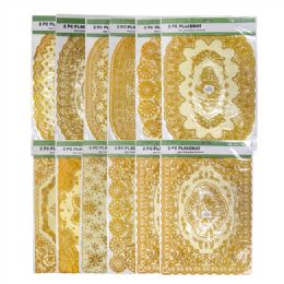 72 Bulk 2 Pieces Gold Stamping Waterproof Placemat