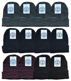 12 Bulk Yacht & Smith Unisex Knit Winter Hat With Stripes Assorted Colors