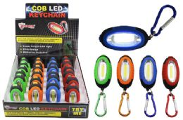 24 Bulk Cob Led Keychain With Carabiner Ultra Bright