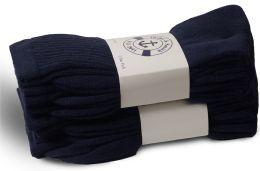 36 Bulk Yacht & Smith Women's Cotton Terry Cushioned Crew Socks, Size 9-11, Navy Bulk Packs