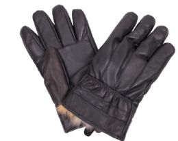 72 Bulk Men's Black Leather Winter Glove