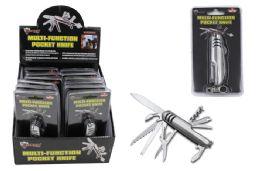 12 Bulk Multi Function Pocket Knife With Keychain Clip