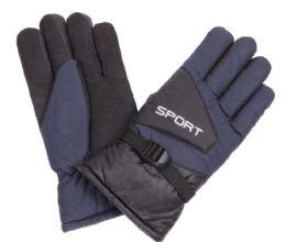 72 Bulk Men's Ski Glove With Velcro Strap
