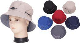 72 Bulk Men's Plain Assorted Color Bucket Hat