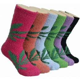180 Bulk Women's Fluffy Cozy Socks With Leaf Print