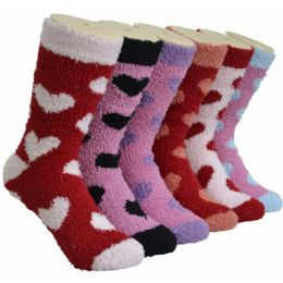 180 Bulk Women's Fluffy Cozy Socks With Heart Design