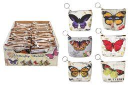 72 Bulk Butterfly Keychain Coin Purse