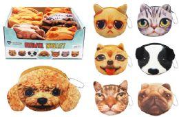 72 Bulk Cat Dog Plush Coin Purse