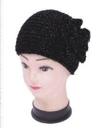 120 Bulk Knitted Floral Black Winter Head Band