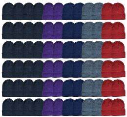 48 Bulk Yacht & Smith Ladies Winter Toboggan Beanie Hats In Assorted Colors