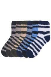 120 Bulk Women's Striped Plush Soft Socks Size 9-11