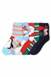 120 Bulk Women's Holiday Plush Soft Socks Size 9-11