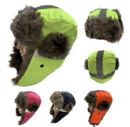 24 Bulk Aviator Hat With Fur Trim [neon With Reflective Strip]