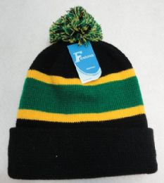 24 Bulk DoublE-Layer Knitted Hat With Pompom [black/green/gold]