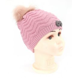 36 Bulk Girls Knit Beanie Hat With Fur Lined In Assorted Colors