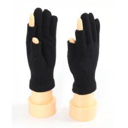 48 Bulk Two Finger Less Glove In Black