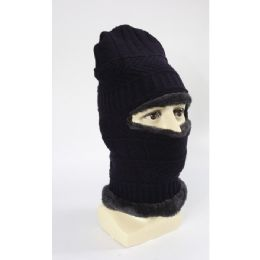 60 Bulk Adults Beanie With Neck Warmer Fur Lined