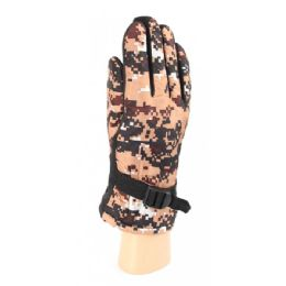 36 Bulk Adults Camouflage Ski Gloves With Fur Lined And Gripper Palm