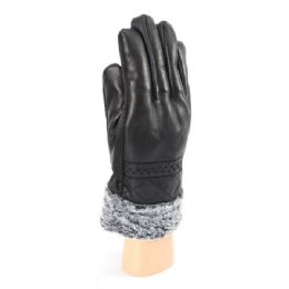 36 Bulk Men's Leather Like Gloves With Fur Lined