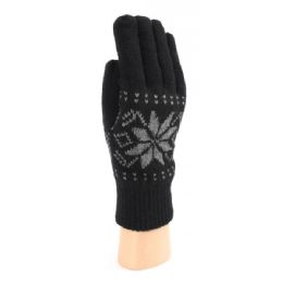 36 Bulk Men's Snow Flake Knitted Gloves With Fleece Lined