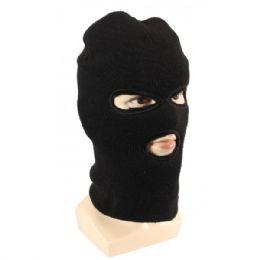 36 Bulk Adults Black Lined Three Hole Ski Face Mask With Fur
