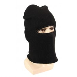 36 Bulk Adults Black Lined One Hole Ski Face Mask With Fur