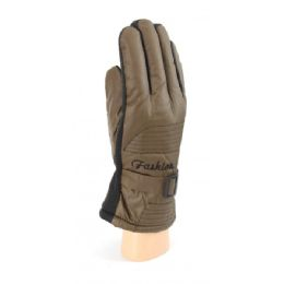 36 Bulk Waterproof Men Ski Gloves With Fur And Gripper Palm Assorted Colors