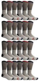24 Bulk Yacht & Smith Mens Thermal Socks, Warm Cotton, Sock Size 10-13