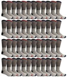 48 Bulk Yacht & Smith Mens Thermal Socks, Warm Cotton, Sock Size 10-13