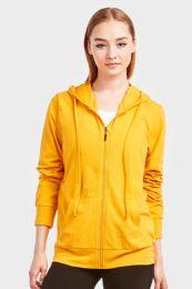 12 Bulk Women's Lightweight Zip Up Hoodie Jacket Mustard Size Small