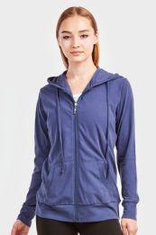 12 Bulk Women's Lightweight Zip Up Hoodie Jacket Denim