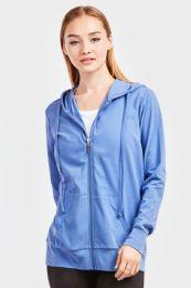 12 Bulk Women's Lightweight Zip Up Hoodie Jacket Blue
