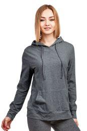 24 Bulk Women's Lightweight Pullover Hoodie Charcoal Gray