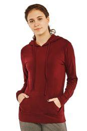 24 Bulk Women's Lightweight Pullover Hoodie Burgundy
