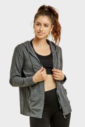 24 Bulk Women's Lightweight Zip Up Hoodie Jacket Charcoal Gray