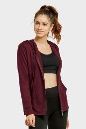 24 Bulk Women's Lightweight Zip Up Hoodie Jacket Burgundy
