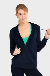 24 Bulk Women's Lightweight Zip Up Hoodie Jacket Navy