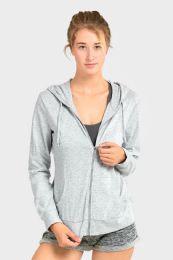 24 Bulk Women's Lightweight Zip Up Hoodie Jacket Heather Gray