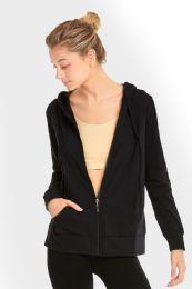 24 Bulk Women's Lightweight Zip Up Hoodie Jacket Black