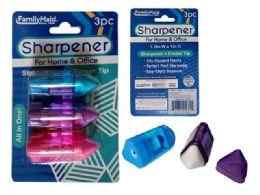 144 Bulk 3 Piece Sharpener With Eraser Tip