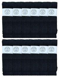 12 Bulk Yacht & Smith Men's 32 Inch Cotton King Size Extra Long Black Tube SockS- Size 13-16