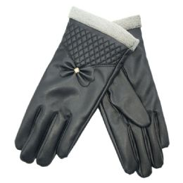 72 Bulk Women's Leather Touch Screen Glove
