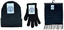 72 Bulk Yacht & Smith Unisex 3 Piece Pre Assembled  Winter Care Set Hat Gloves & Scarf Solid Black