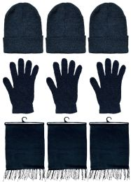 3 Bulk Yacht & Smith Unisex 3 Piece Pre Assembled  Winter Care Set Hat Gloves & Scarf Solid Black