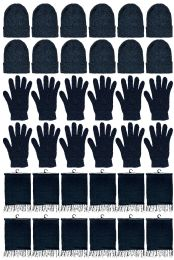 12 Bulk Yacht & Smith Unisex 3 Piece Pre Assembled  Winter Care Set Hat Gloves & Scarf Solid Black