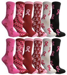 12 Bulk Pink Ribbon Breast Cancer Awareness Crew Socks For Women