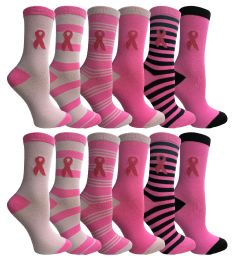 60 Bulk Pink Ribbon Breast Cancer Awareness Crew Socks For Women