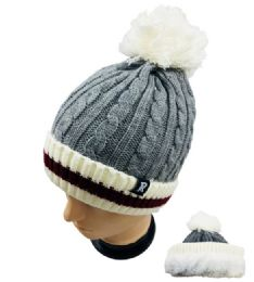 24 Bulk Knitted PlusH-Lined Pom Pom Hat