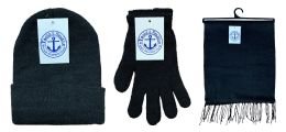 180 Bulk Yacht & Smith Unisex 3 Piece Winter Care Set, Black Beanie Hat, Black Magic Gloves And Black Fleece Scarf